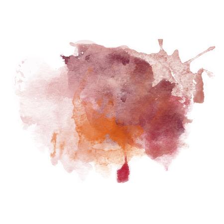 Orange and Brown Watercolor Splash for various decor. Paper Illustration.
