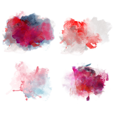 blobs: Lovely Red Watercolor Blobs. Set of Watercolor Splashes for design. Passion decor.