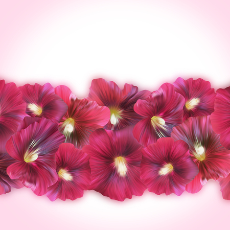 flor morada: Bandera p�rpura brillante con las flores de la malva de tarjetas de regalo, carteles y otros.