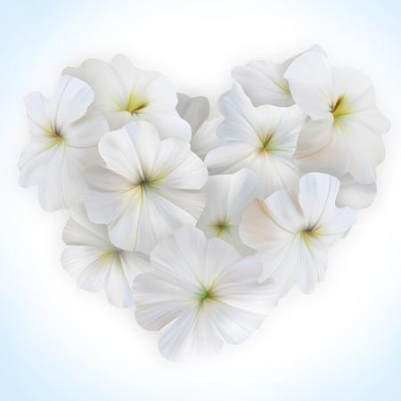 bouquet fleur: Innocence Blanc Petunia Coeur. Beau coeur floral pour la Saint-Valentin. Amour symbole dans le style romantique. Banque d'images