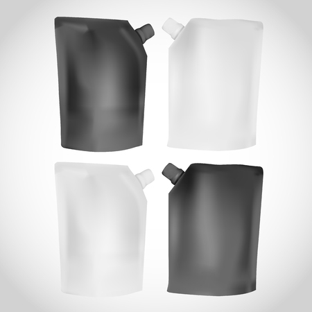 pouch: White and Black plastic blank spouted pouch template