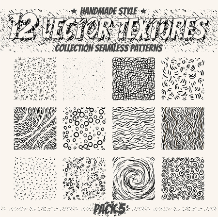 Collection monochrome seamless textures for digital design. Vector patterns for web, textile, fabric and other. Hand-draw dots, lines and all elements.