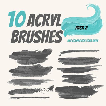 Collectie vector acrylborstels, Grunge elementen met verfstijl. Handdraw strokes voor ontwerp.