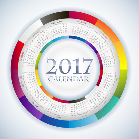 Sweet Paper Calendar 2017 in Circle composition. Original Template with rainbow colors elements