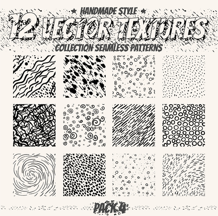 Vector set of seamless patterns. Collection of minimalistic textures. Dots, lines, circles, swirl.