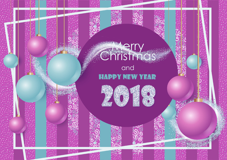 Simple Banner with text Happy New Year and Merry Christmas. Original gretting card for holydays. 2018 year.
