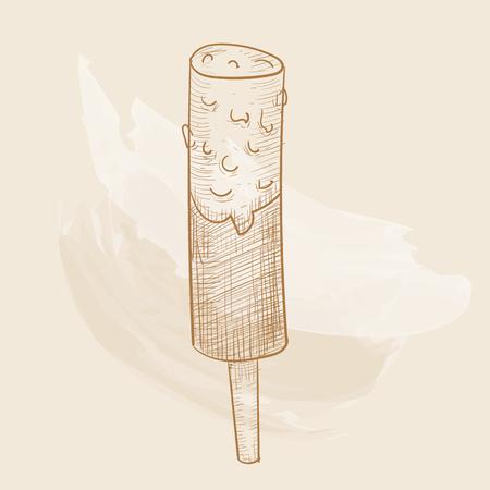 Chocolate dessert in hand-drawn style. Illustration