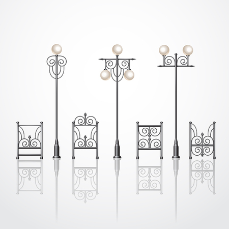 Set street lanterns with metallic fence. Retro city lanterns. Realistic 3d vector illustration.