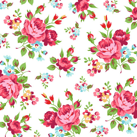 patterns vector: Seamless floral pattern with red roses