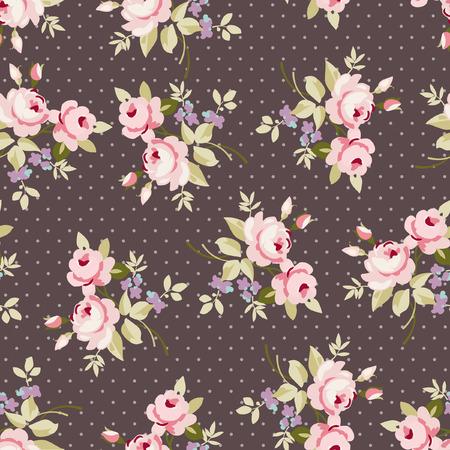 pink vintage: Seamless floral pattern with little pink roses, vector illustration in vintage style. Illustration