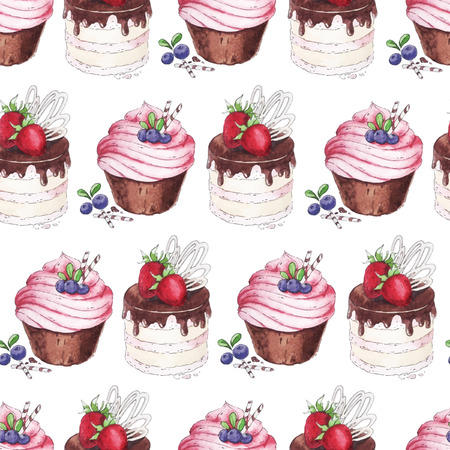 cream filled: Watercolor vector texture with blueberries cupcakes and strawberry cake.