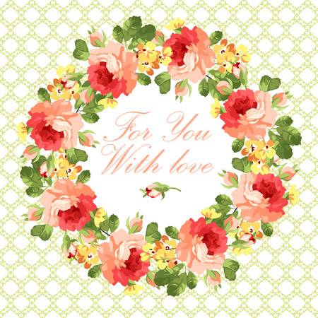 isolated flower: Beautiful floral Greeting card with red roses