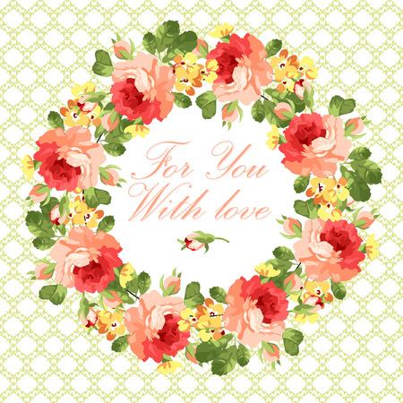 arreglo floral: Tarjeta de felicitación floral hermoso con las rosas rojas Vectores