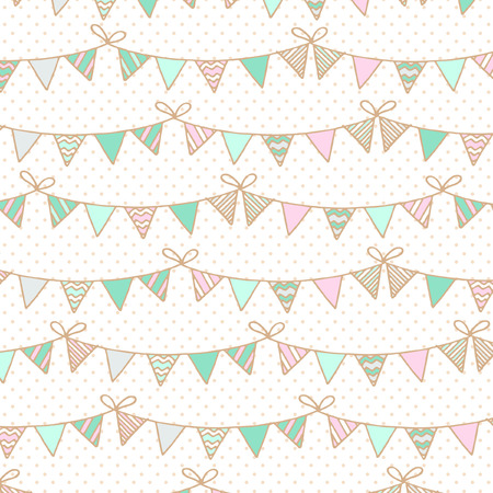 outdoor event: Background with garlands of flags for Childrens Birthday Illustration