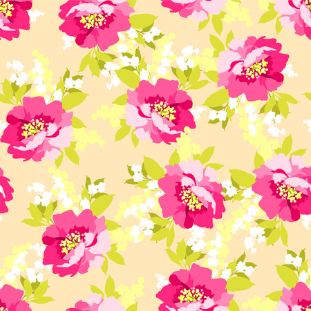 wild rose: Floral seamless pattern with Beautiful Pink Flowers wild rose Illustration