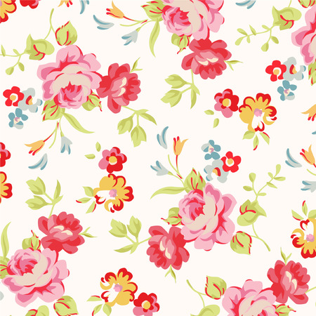 ornamental plant: Beautiful floral seamless pattern with red and pink roses Illustration