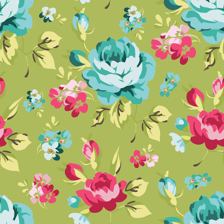 rose petals: Floral seamless pattern with blue roses