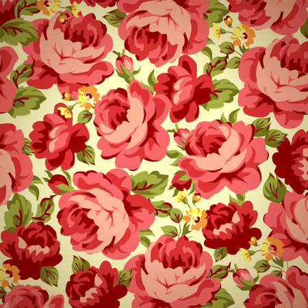 stems: Beautiful Vintage floral pattern with red roses.