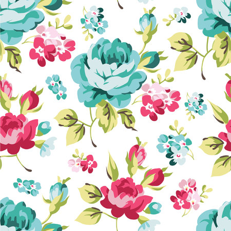 vintage flower: Floral seamless pattern with blue roses