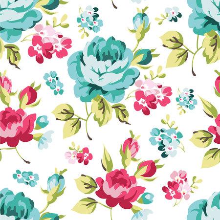 Motivo floreale senza soluzione di continuità con Rose blu Archivio Fotografico - 49344592
