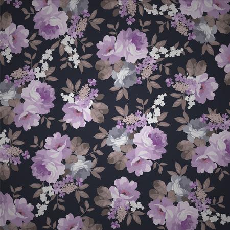 rosa negra: estampado de flores hermoso de la vendimia con las rosas en un fondo negro