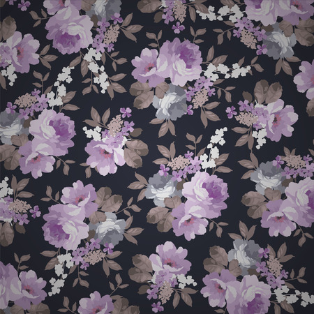 Beautiful  Vintage floral pattern with roses on a black background