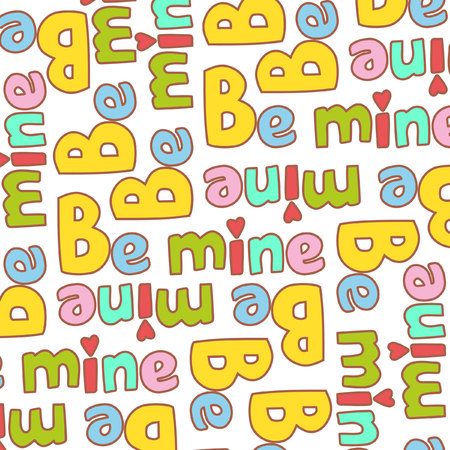 be mine: Cute seamless Valentines Day pattern Be mine