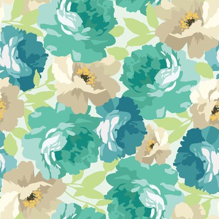 Seamless floral pattern with blue roses Stock Illustratie
