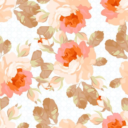 stems: Vintage seamless pattern with pastel roses