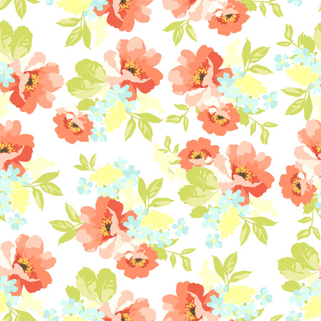 red flower: Beautiful floral seamless pattern with  Flowers wild rose Illustration
