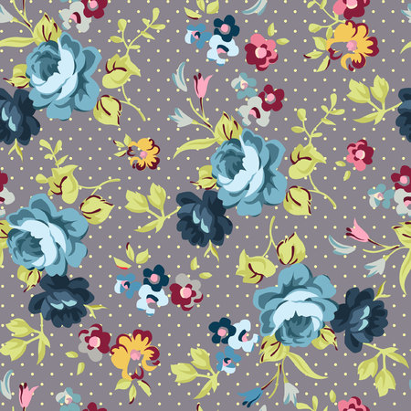 Beautiful floral seamless pattern with blue roses