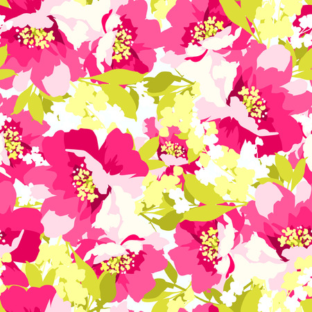 floral pattern: Floral seamless pattern with Beautiful Pink Flowers wild rose Illustration