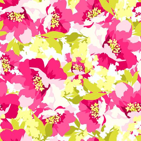 motif floral: seamless floral avec de belles fleurs roses rose sauvage