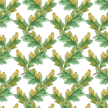oak: Watercolor Seamless pattern  with oak leaves