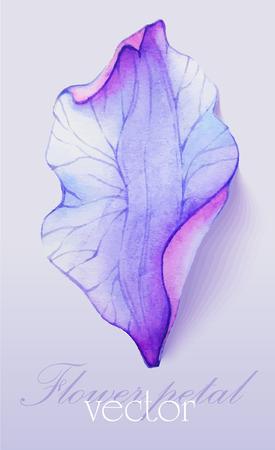 수채화 요소 보라색 꽃 꽃잎