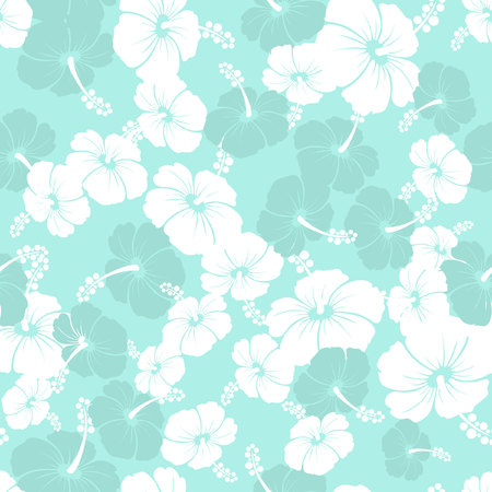 Hawaiian Seamless  Pattern with hibiscus flowers and Monstera leaves