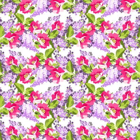 fragrant bouquet: Beautiful floral seamless pattern with lilac flowers and rose hips