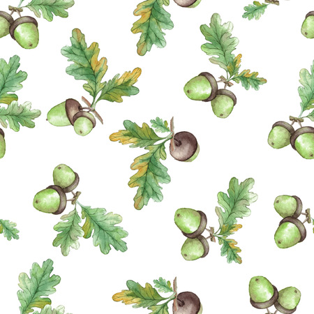 acorn: Watercolor Seamless pattern  with acorns and oak leaves