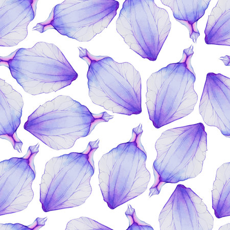petal: Watercolor Seamless pattern with Purple flower petal Illustration