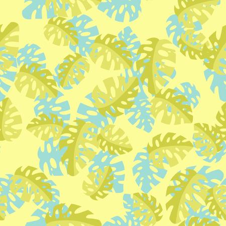 monstera leaf: Hawaiian seamless pattern with Monstera leaves