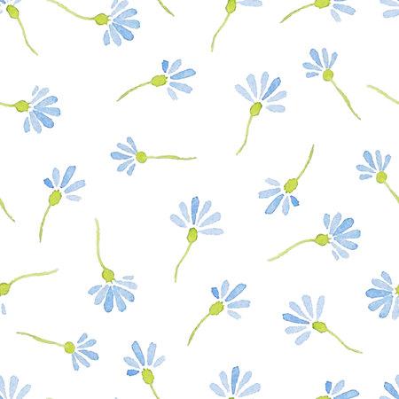 cornflowers: Seamless Patterns with  watercolor cornflowers