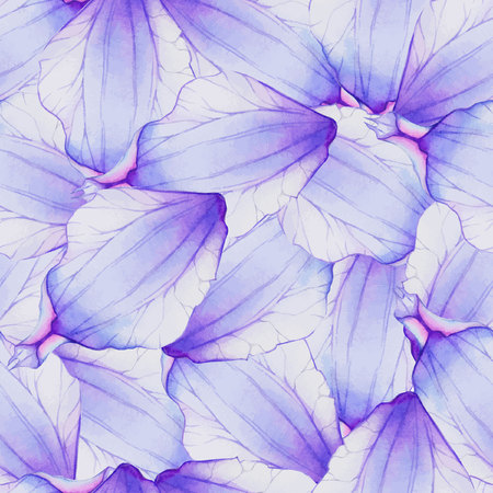 Watercolor Seamless pattern with Purple flower petal Ilustração
