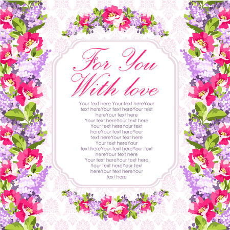 rose hips: Wedding Card with lilac flowers and rose hips Illustration