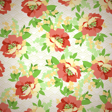 red green: Floral seamless pattern with Flowers wild rose Illustration