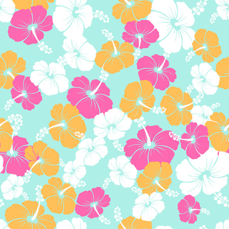 monstera: Hawaiian Seamless  Pattern with hibiscus flowers and Monstera leaves