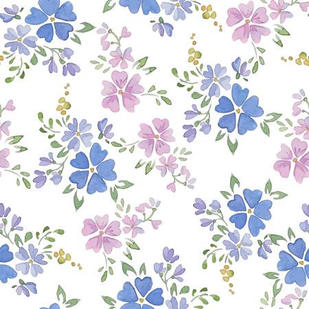 violeta: Patrones sin fisuras con flores de la acuarela Vectores