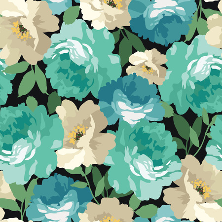 Seamless floral pattern with blue roses on black background