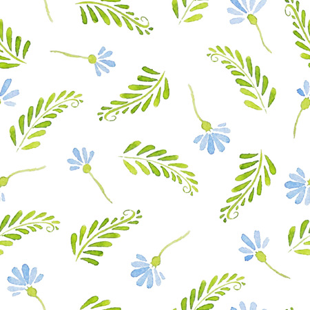 cornflowers: Seamless Patterns with  watercolor cornflowers and leaves Illustration