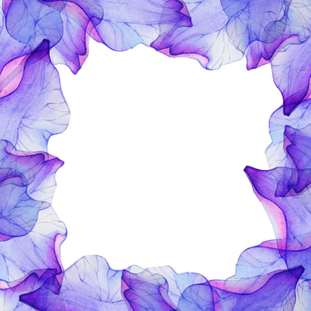 design background: Watercolor frame with Purple flower petal.