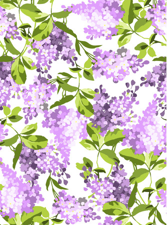 Beautiful floral seamless pattern with lilac flowers Ilustração